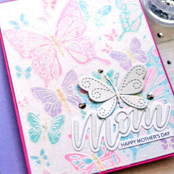One stamp, five ways: Outline Butterflies