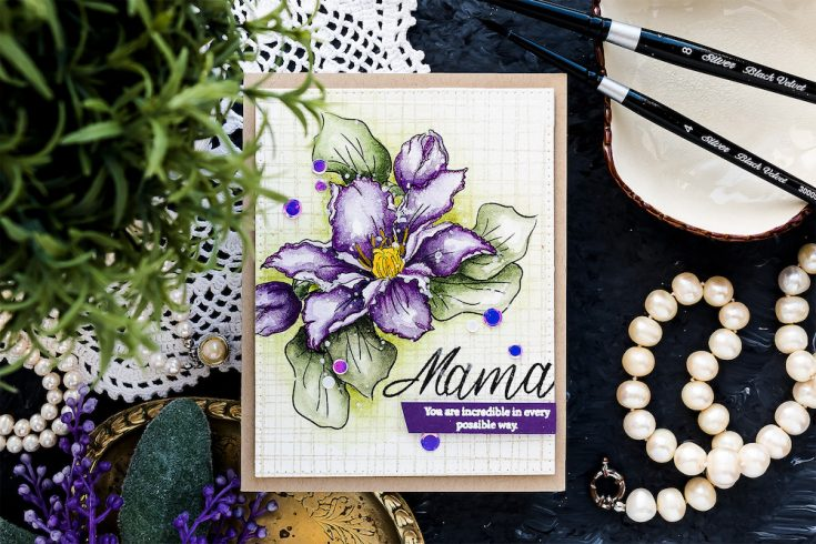 Yippee for Yana: Watercolor Clematis Card for Mom