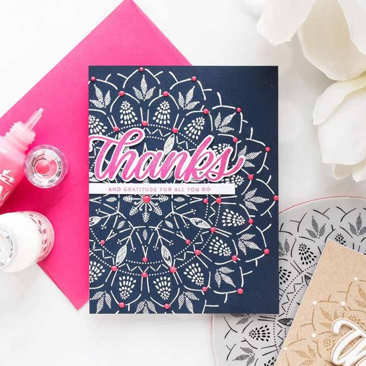 Yana Smakula Simon Says Stamp May 19 Throwback Thursday Bohemian Lace background stamp, Big Thanks Words stamp, and Big Thanks dies
