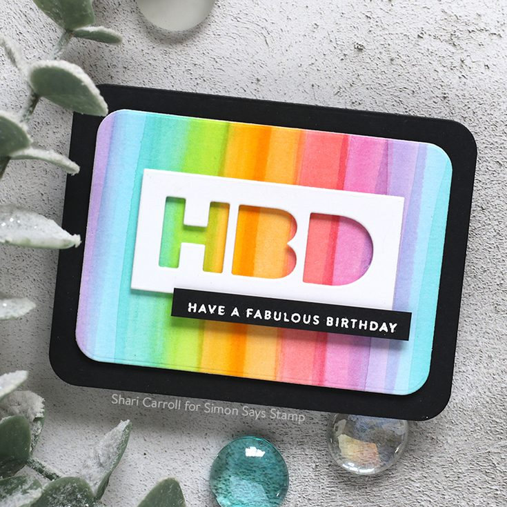 Celebrate You Blog Hop Shari Carroll Tiny Words Birthday stamp set, Rounded Corner Rectangle and HBD dies