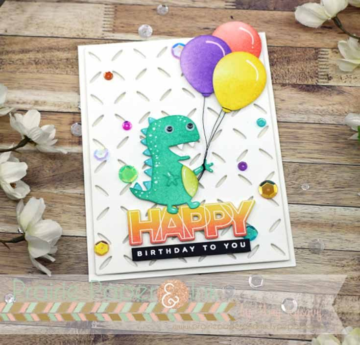 Amy Rysavy Simon Says Stamp July 2019 Throwback Thursday Diamond Pattern die, Picture Book T-Rex die, and Birthday Palooza stamp set and dies