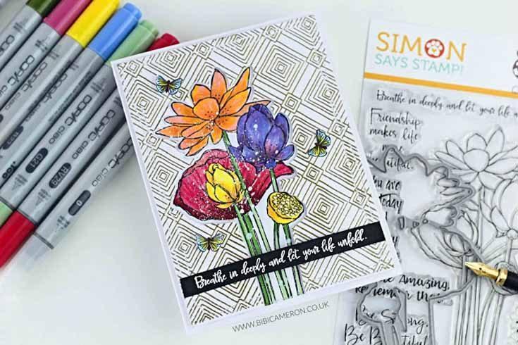 Bibi Cameron Simon Says Stamp July 2019 Throwback Thursday Sketch Lotus stamp set and dies and Plantiful Puns stamp set