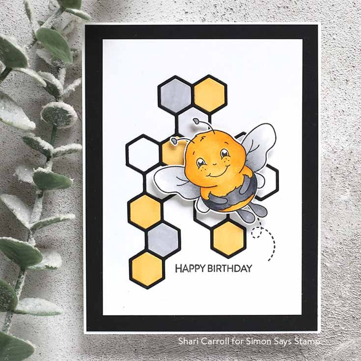 Rest and Refresh Blog Hop Shari Carroll Happy Bee stamp set, Hexagon Element die