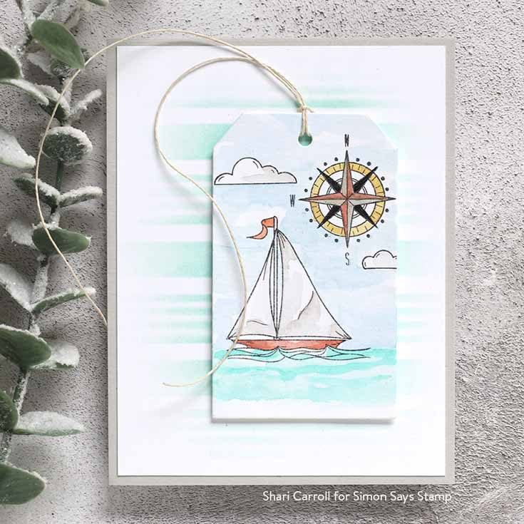 Rest and Refresh Blog Hop Shari Carroll Your Light stamp set, Nautical Stripes stencil