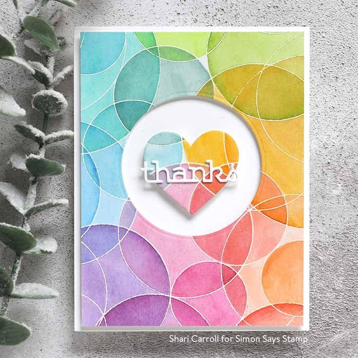 Rest and Refresh Blog Hop Shari Carroll Round and Round background stamp, Thanks Frame die