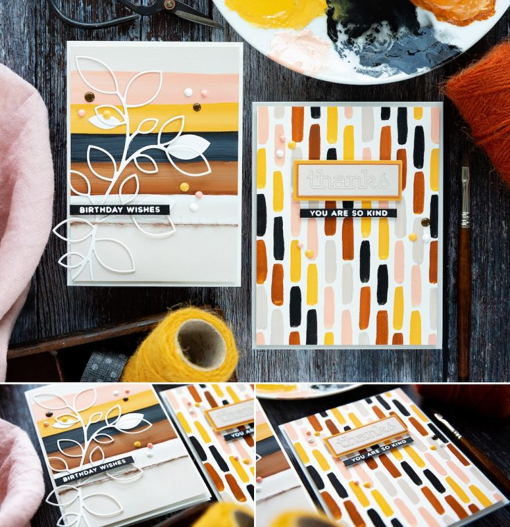 And there you go, two simple painted striped backgrounds with die-cut elements, skinny sentiment strips and Nuvo droplets to coordinate. I hope you give stripes a go too. Thanks for joining me today and I hope you'll join me next time for Doodling With Debby.