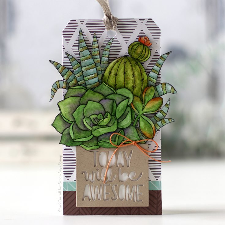 Believe in You Blog Hop Shari Carroll Suzy's Succulents Watercolor Cards and Today Will Be Awesome die