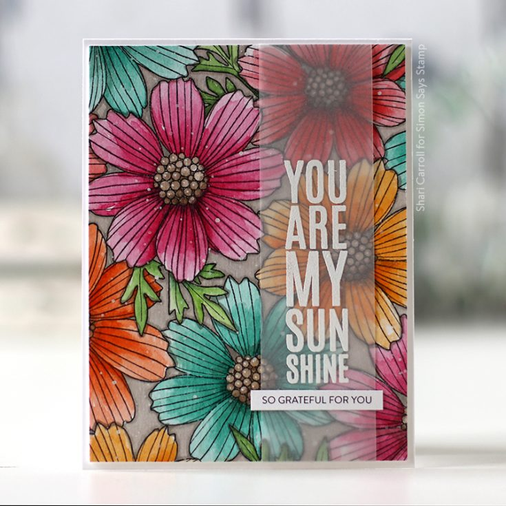 Believe in You Blog Hop Shari Carroll Greetings Mix 1 stamp set, Cosmos Bloom Background stamp, and Sentiment Strips Gratitude
