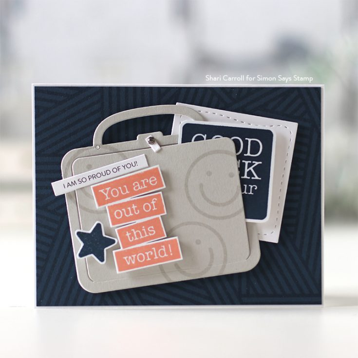 Believe in You Blog Hop Shari Carroll Lunch Box Notes 2 stamp set, Stripe Jumble Background stamp, and Lunch Box Stitched Square and Lunchbox dies