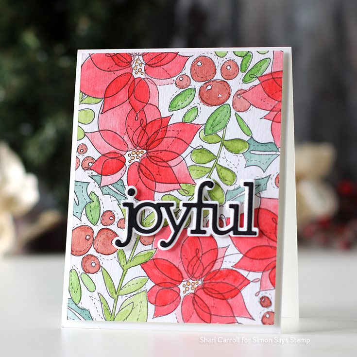 STAMPtember® Blog Party Shari Carroll Winter Mix background stamp and Joyful dies
