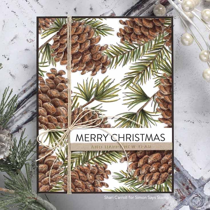 Cheer and Joy Blog Hop Shari Carroll Pinecone Background stamp, Extra Large Christmas Sentiment Strips, Holiday Greetings Mix 1 stamp set