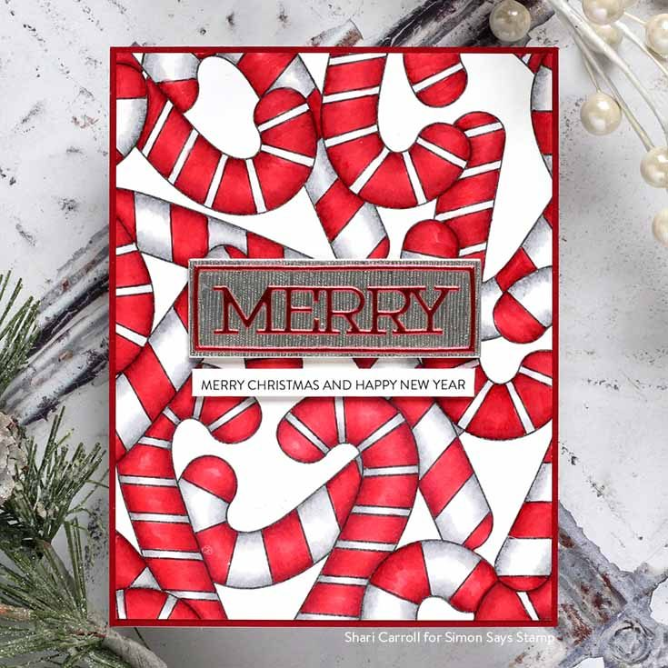 Cheer and Joy Blog Hop Shari Carroll Candy Cane background stamp, Merry Frame die, Sentiment Strips Christmas