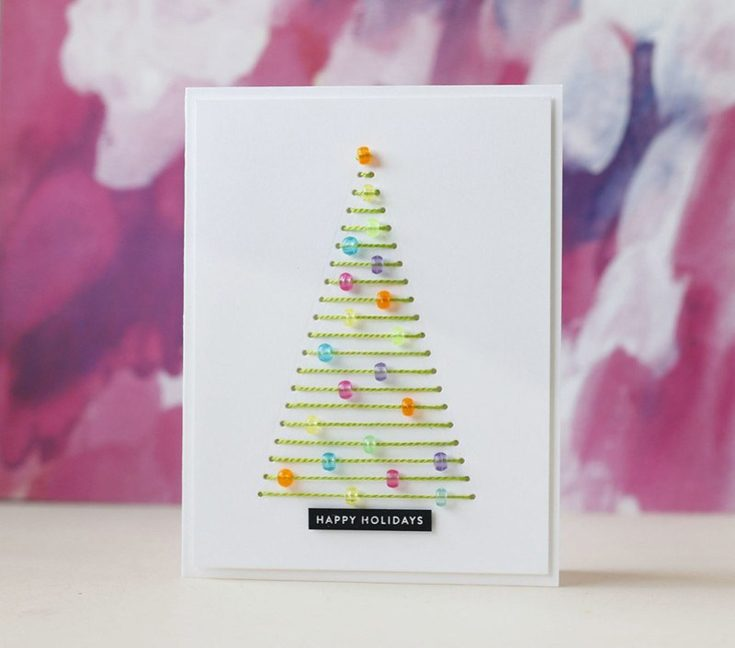Laura Bassen Simon Says Stamp November 2019 Throwback Thursday Christmas Tree Stitching die and Tiny Words Christmas stamp set