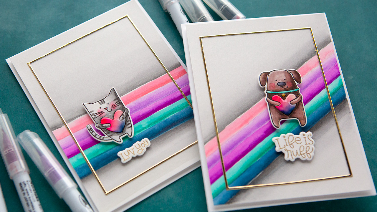 Watercolor Markers with Kristina Werner (Pawsome Love Stamps & Dies)