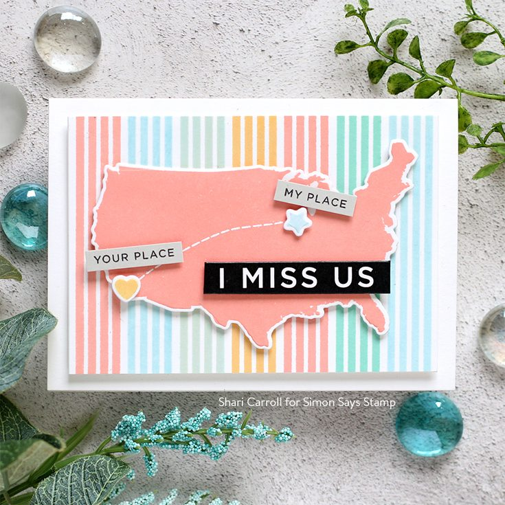 Hey Bestie Love You More Blog Hop Shari Carroll Miss You Missy stamp set and coordinating diesReverse Strips 2 Miss You sentiment strips