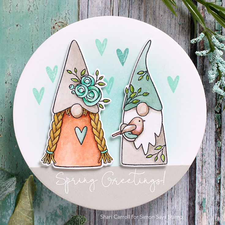 Lucky to Know You Blog Hop Shari Carroll Spring Gnomes stamp set and coordinating dies