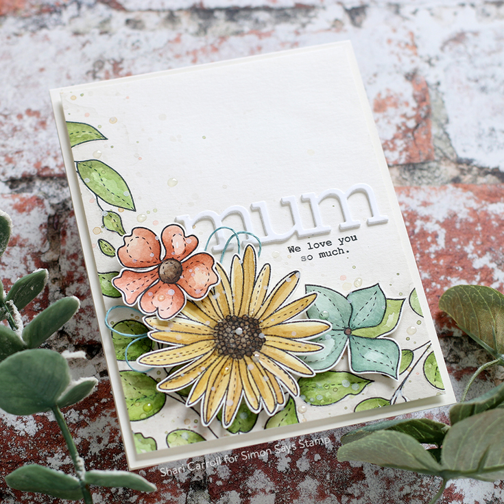 Sunny Days Ahead Blog Hop Shari Carroll Spring Flowers 4 stamp set and Mum Word/Shadow dies