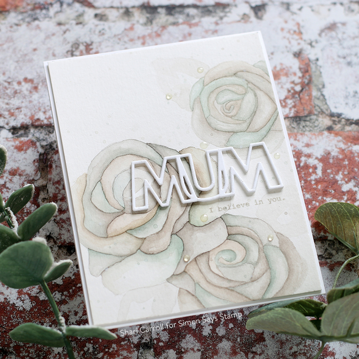 Sunny Days Ahead Blog Hop Shari Carroll Rose Trio stencil, Luck and Hugs stamp set, and Outline Mum die