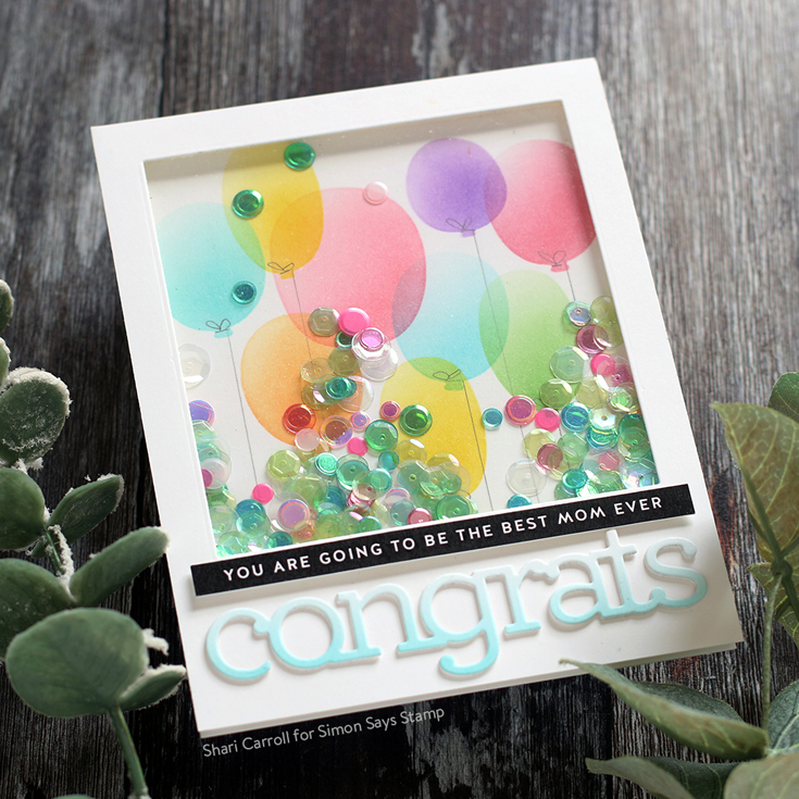 Sunny Days Ahead Blog Hop Shari Carroll Graduation Celebration stencil, Congrats dies, and Reverse Mom Days strips
