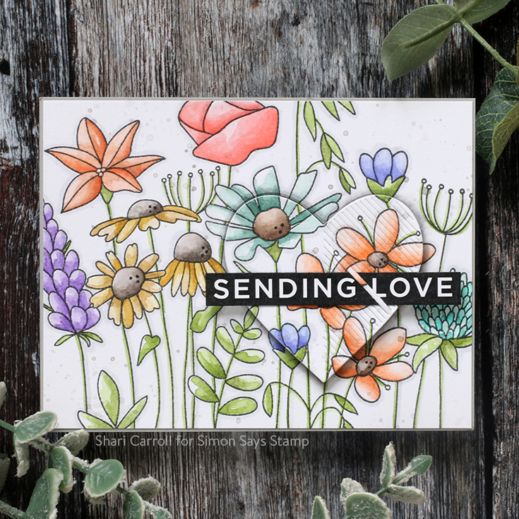 Crafty Hugs Blog Hop Shari Carroll So Beautiful background stamp, Reverse Sympathy Sentiment strips, and Etched Linear Heart die