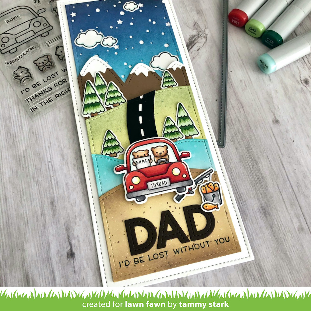 Lawn Fawn Slimline & Car Critters for Father's Day! - Simon Says ...