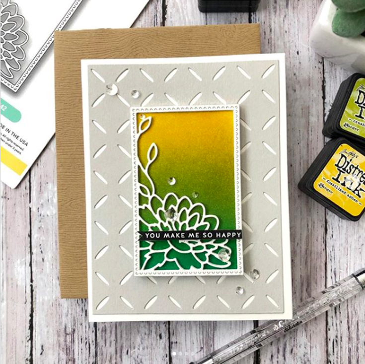 Sidnie Des Jardins Simon Says Stamp May 2020 Throwback Thursday Diamond Pattern and Dahlia Corner Frame dies