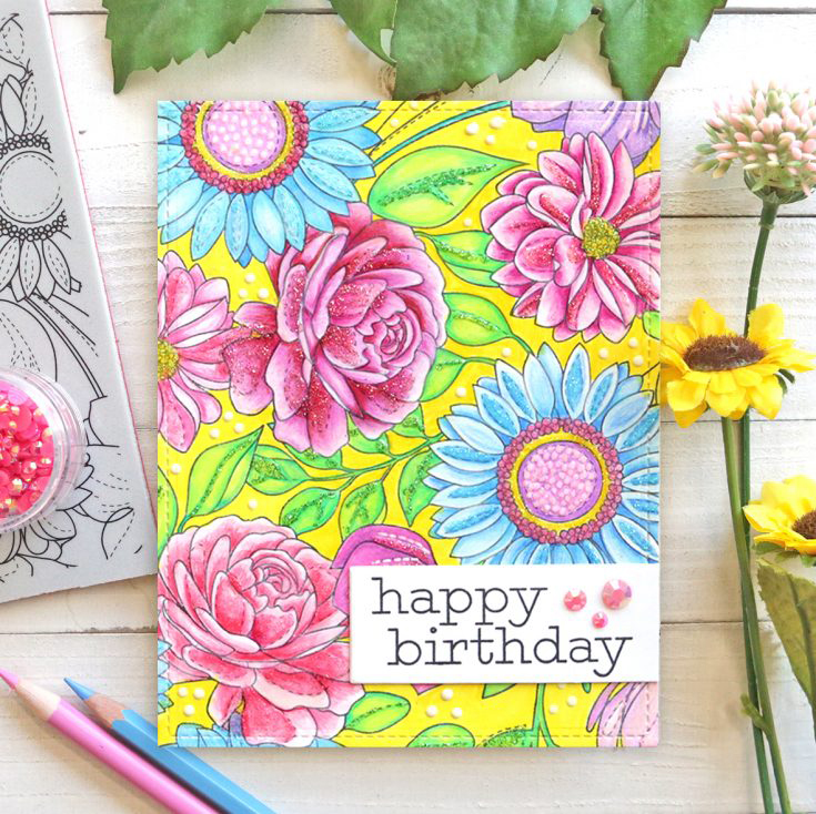 Suzy Plantamura Simon Says Stamp May 2020 Throwback Thursday Floral Mix background stamp and Greetings Mix 1 stamp set