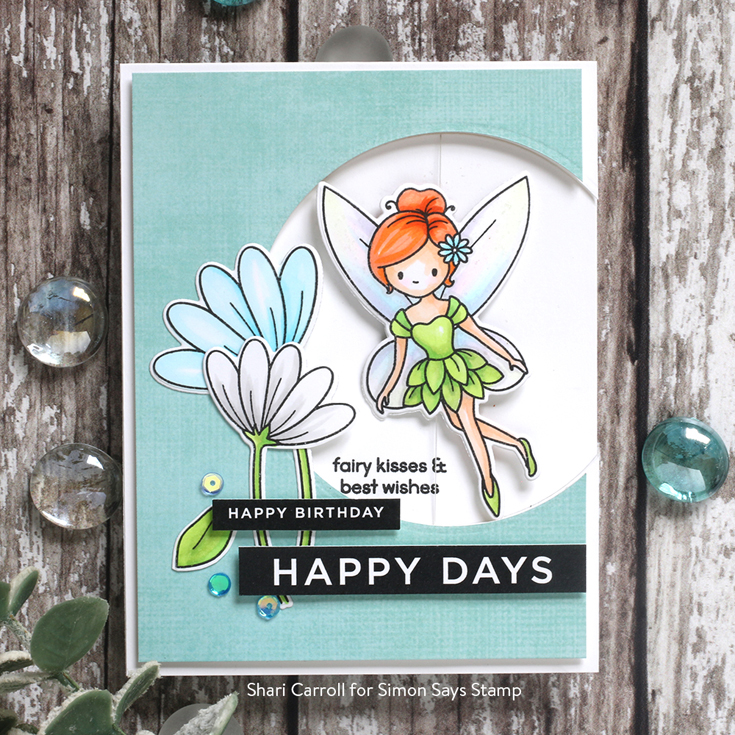 Send Happiness Blog Hop Shari Carroll Reverse Happy sentiment strips and Fairytale Spinners stamp set and dies
