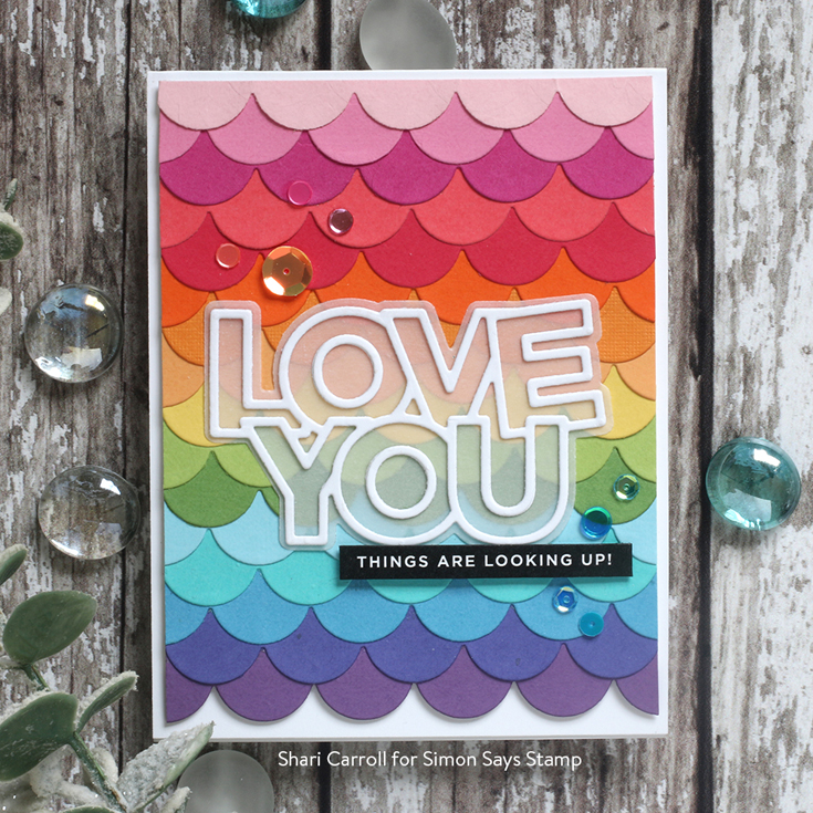 Send Happiness Blog Hop Shari Carroll Reverse Happy sentiment strips, Chunky Love You and Scallop Borders dies