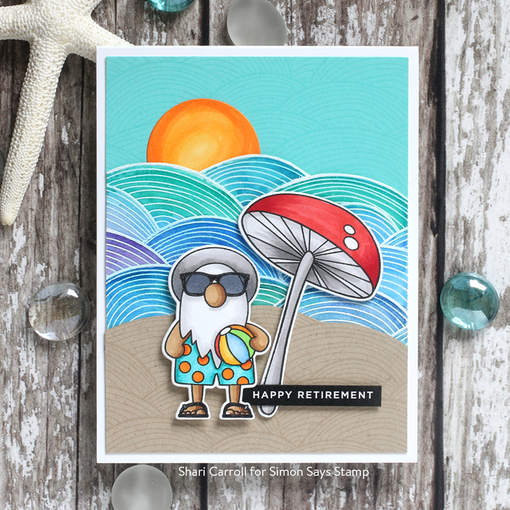 Send Happiness Blog Hop Shari Carroll Out to Sea background stamp, Reverse Happy sentiment strips, and Chillin Gnomes stamp and dies