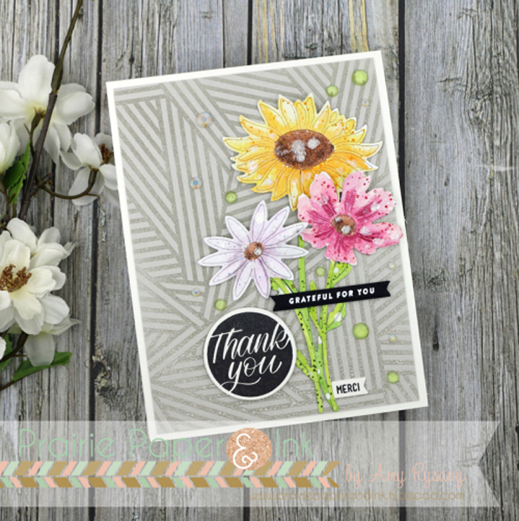 Amy Rysavy Simon Says Stamp July 2020 Throwback Thursday Daisy Stem, Sunflower Stem, and Cosmos Stem dies, Stripe Jumble background stamp, Thanks and Encouragement Word Mix 1 stamp set