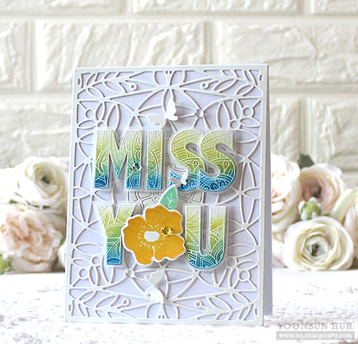 Yoonsun Hur Simon Says Stamp July 2020 Throwback Thursday Ornate Alphabet and Bold Flowers stamp sets, Marilyn Full Card die