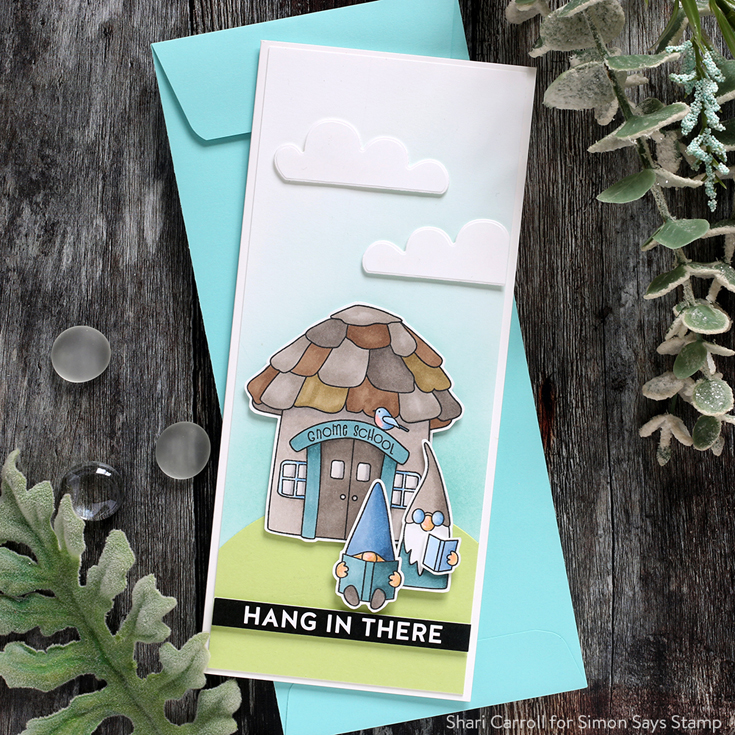 Let's Connect Blog Hop Shari Carroll Gnome School sentiment strips and Gnome School stamp set and dies