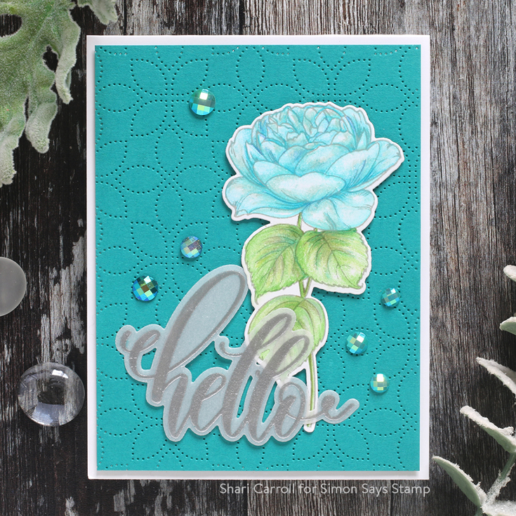 Let's Connect Blog Hop Shari Carroll Detail Petal Plate die and Gina K Designs Summer Roses stamp set and dies