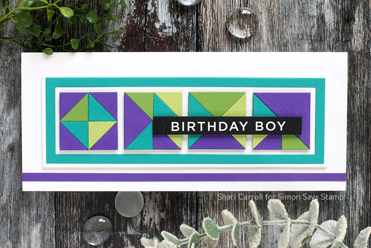 STAMPtember® 2020 Blog Party Shari Carroll Slimline Nested Rectangles and Geometric Builder Squares dies