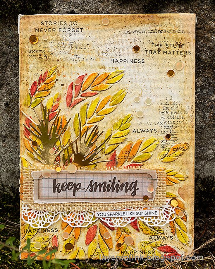 Anna-Karin Evaldsson Simon Says Stamp October 2020 Throwback Thursday Tabbed Sentiments stamp set and Tumbling Leaves stencil