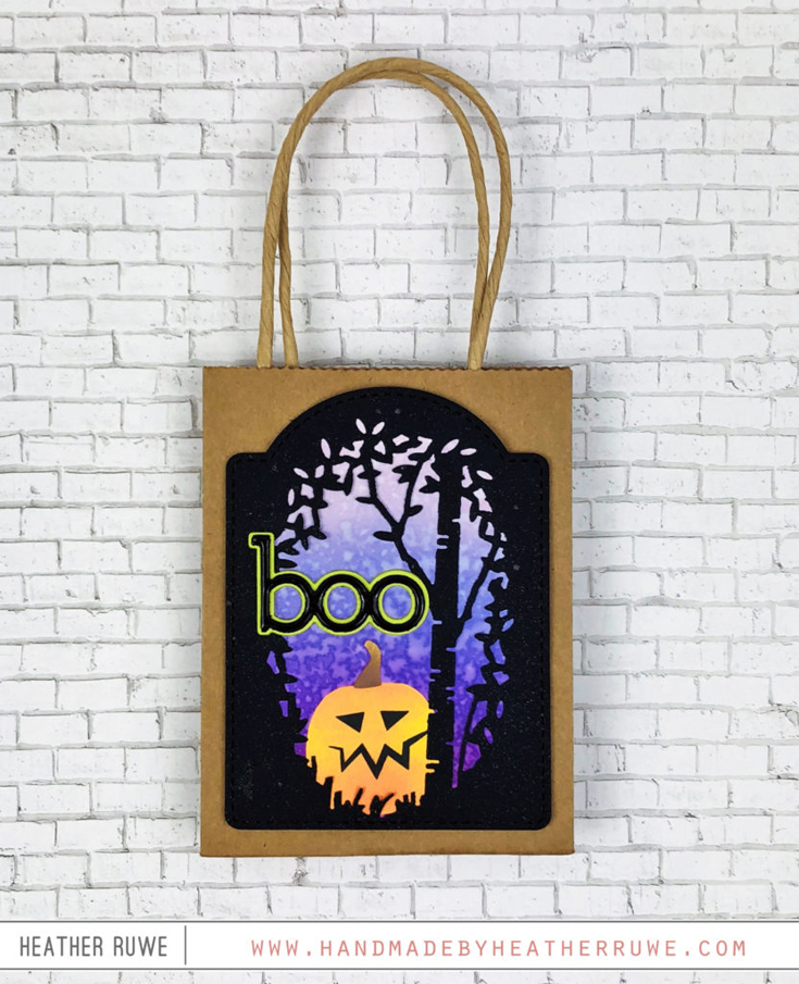 Heather Ruwe Simon Says Stamp October 2020 Throwback Thursday Birch Tree Collage die, Boo Word and Shadow die, and Jack O'Lanterns stencil