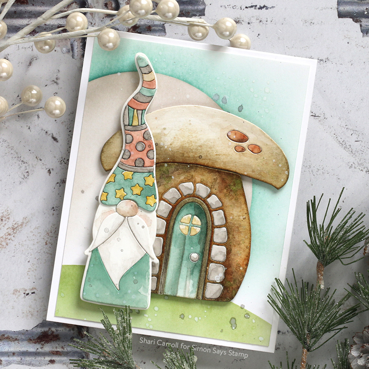 Make Merry Blog Hop Shari Deco Hat Gnome and Mushroom House dies and Circle Masks stencil