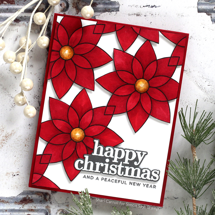 Make Merry Blog Hop Shari Carroll Good Cheer stamp and die and Modern Poinsettias background stamp