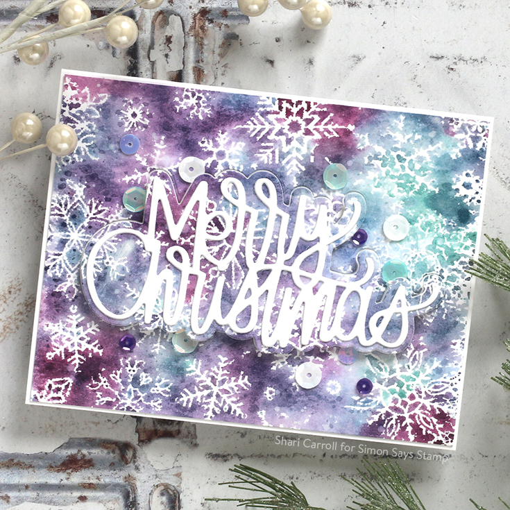 Make Merry Blog Hop Shari Carroll Large Written Merry Christmas die and All Snowflakes background stamp