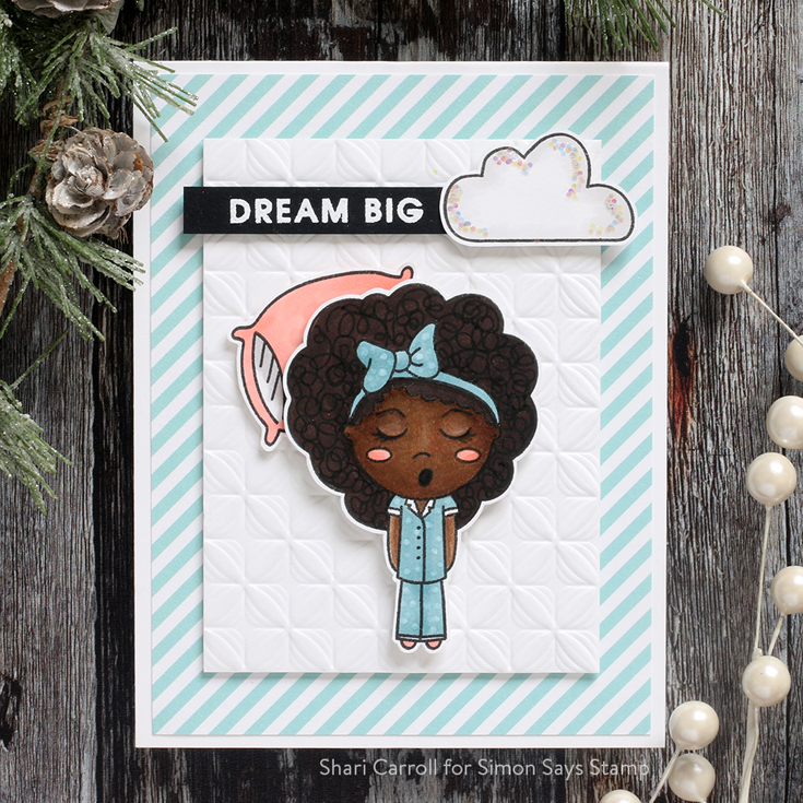 Holly Jolly Blog Hop Shari Carroll Rest Queen stamp set and Lumen Embossing Folder