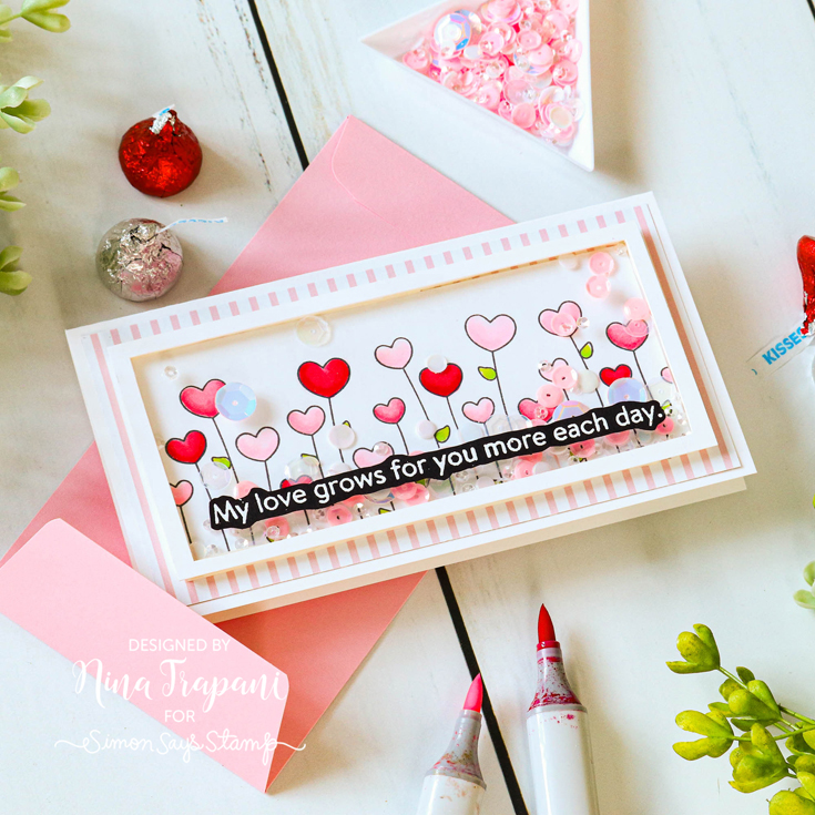 Love You, Too Blog Hop Nina-Marie Trapani, Heart Garden background stamp, Cotton Candy envelope, and Cupcake Frosting sequins
