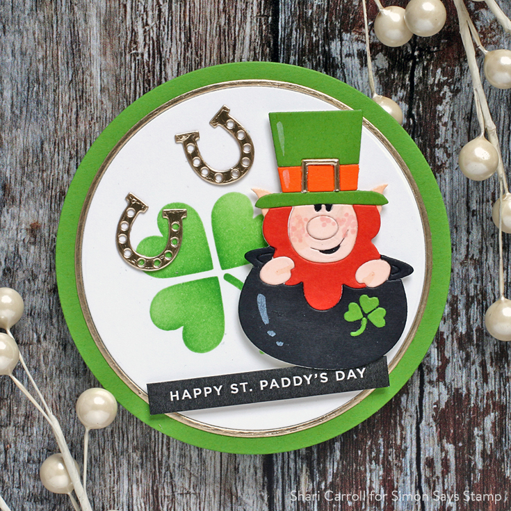Love You, Too Blog Hop Shari Carroll Leprechaun die and Reverse Lucky Sentiment strips