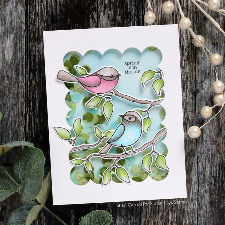 Hello Beautiful Blog Hop Shari Carroll Spring Birds stamp set and die, Chunky A2 Rectangles die, Lucky Clover sequins
