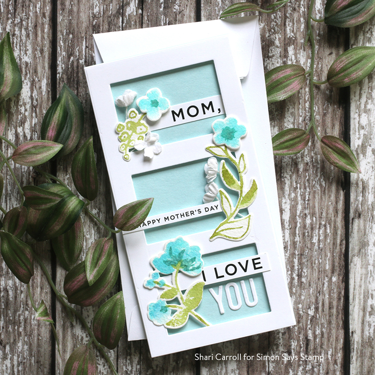 All the Feels Blog Hop Shari Carroll Sweet Garden Blooms stamps and dies, Mini Slimline Window Die, and Family Sentiment Strips