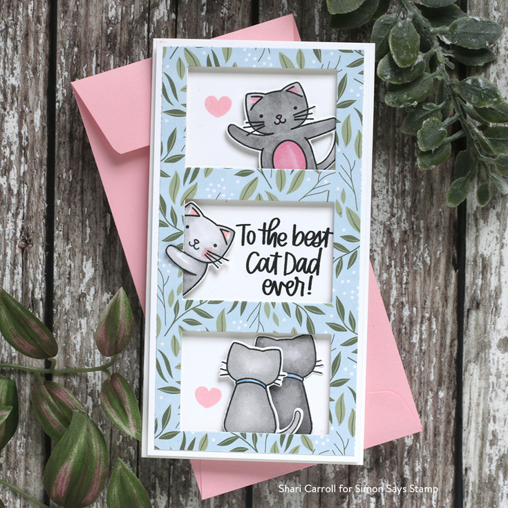 All the Feels Blog Hop Shari Carroll Happy Meowther's Day stamps and dies, Mini Slimline Window Die