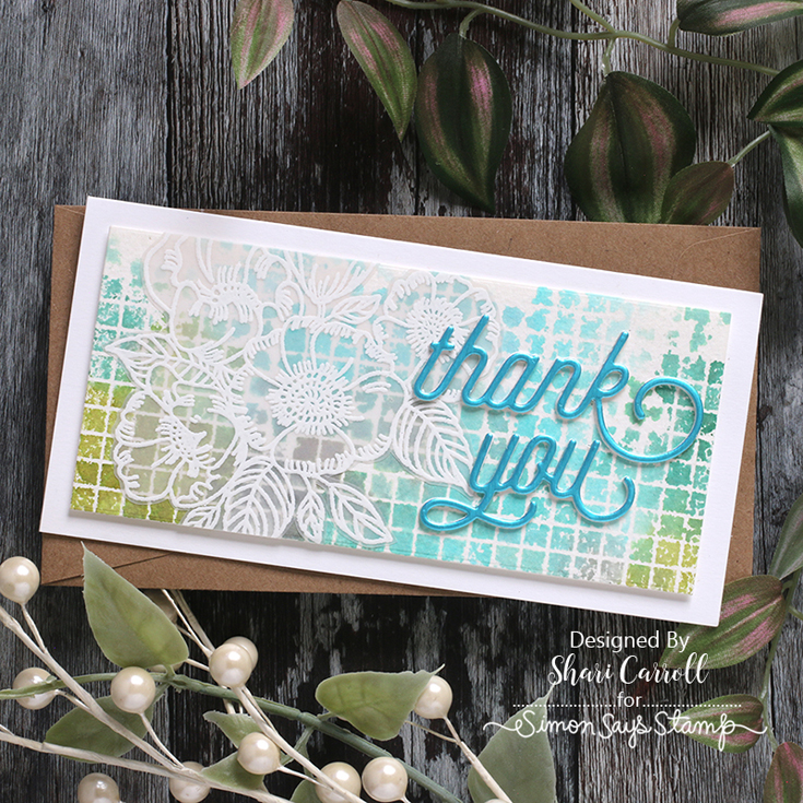 Born to Sparkle Blog Hop Shari Carroll Swoopy Thank You dies, Flower Cluster wood stamp, Solid Grid background