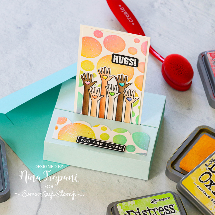 Rainbows Blog Hop Nina-Marie Trapani 3D Card die, Fading Circles stencil, and You are Loved stamp and coordinating die