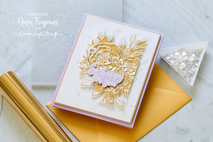 Rainbows Blog Hop Nina-Marie Trapani Roseville Bouquet embossing folder and Tied the Knot stamp and coordinating die