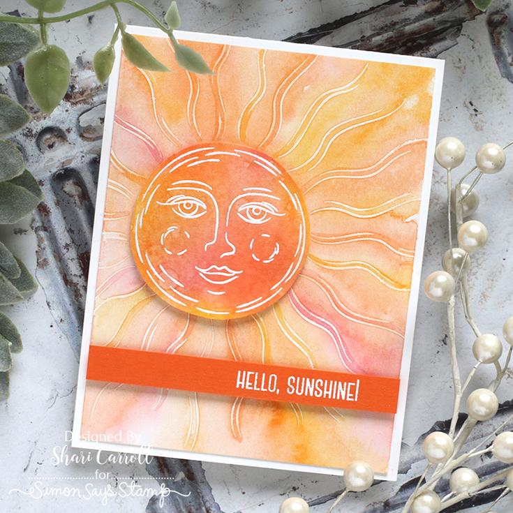 Rainbows Blog Hop Shari Carroll Shine On background stamp and Hello Sunshine stamp set